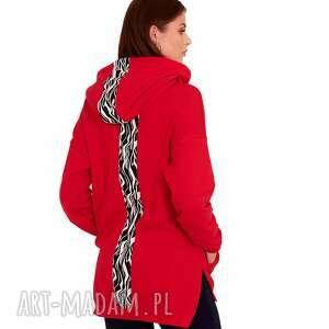bluzy bluza dresowa ewa kolor czerwony, bluzy, dres, sukienka, bluzki, spodnie