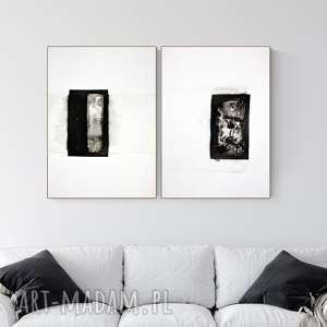 Zestaw 2 grafik 50x70 cm wykonanych ręcznie, abstrakcja