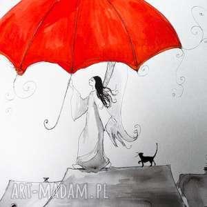 Akwarela i piórko CZERWONY PARASOL artystki plastyka Adriany Laube, akwarela, anioł