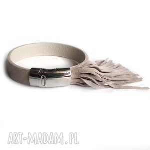 handmade bransoletka skórzana frędzle zamsz beżowa