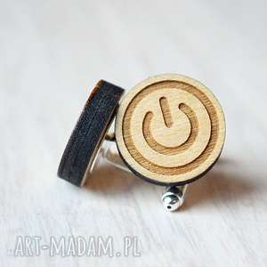 Drewniane spinki do mankietów POWER BUTTON, drewniane, spinki, przycisk, power
