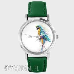 zegarek - turkusowa papuga skórzany, zielony, zegarek, bransoletka, skórzany