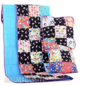 Kolorowa narzuta 80x140cm i 2x poduszka KOLOROWY komplet od majunto, patchwork