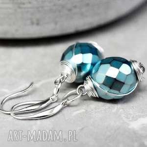 srebrne 925 kolczyki lodowy czas - turkusowe kolczyki, biżuteria, elegancja