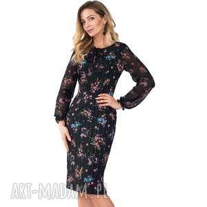 Sukienka ANITA Midi Wiktoria, midi, dopasowana, kwiaty, paski, falbanki, kokarda