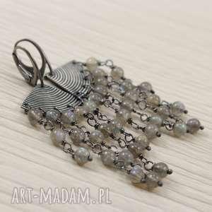 labradoryt w oksydowanym srebrze - kolczyki wachlarze, labradoryt, kolczyki, srebro