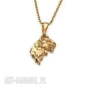 wisiorki tygrys mini amulet ze złoconego srebra, złocony wisiorek, delikatny