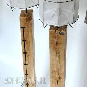 Lampa loft drewniana, dębowa - wysoka oldtree debowa, loftowa