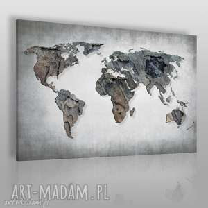 Obraz na płótnie - MAPA ŚWIATA BETON 120x80 cm (63701), mapa, świat, kontynenty