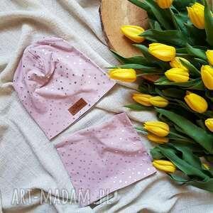 czapka zestaw komin pudrowy róż kropeczki (kropseczki, groszki, dresówka)