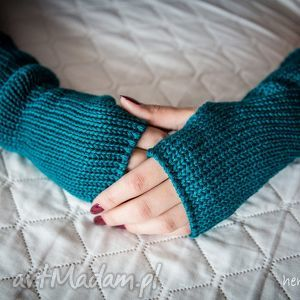 ręcznie zrobione rękawiczki mitenki turkusowe (morskie)