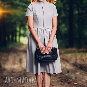 Szara sukienka midi ze stójką, rozmiar , XS, S, M, L - LIKWIDACJA SKLEPU,