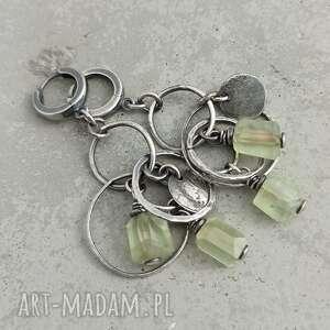 frenit i srebrne koła kolczyki wiszące, boho biżuteria, nowoczesna biżuteria