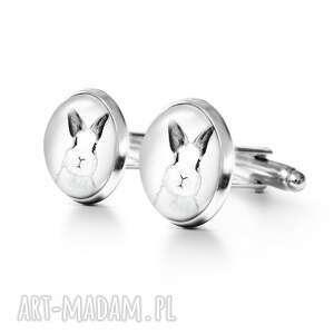 yenoo królik - spinki do mankietów, metalowe, królik, zając