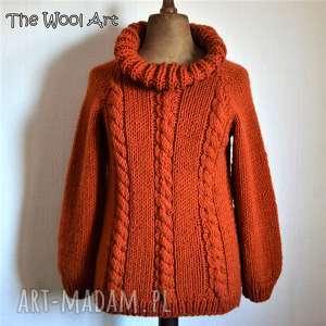 sweter z golfem, sweter, golf, wełniany, na-drutach, kobiecy