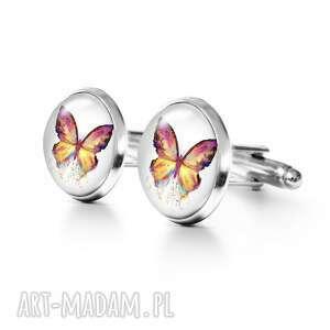 motyl - spinki do mankietów, metalowe, motyl, męskie, grafika