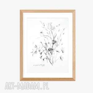 grafika ręcznie wykonana czarno biała a4, elegancki minimalizm