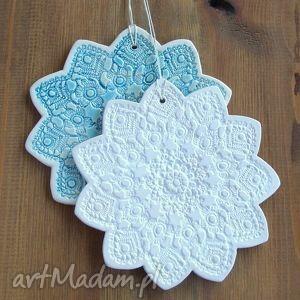 ceramiczne śnieżynki, gwiazdki, zawieszki, folk, choinka, święta