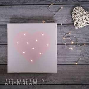 świecący obraz led serce prezent lampka dekoracja dla dziewczynki pastelowy róży