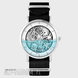 zegarki zegarek - steampunk wodny czarny, nato, zegarek, bransoletka, nato