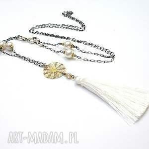Boho / mariage - naszyjnik, srebro, oksydowane, pozłacane, chwost, perły