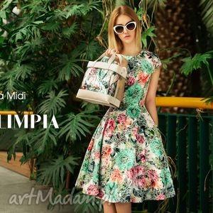 sukienka star midi olimpia żakard , kwiaty, kwiatowa, weselna, midi, rozkloszowana