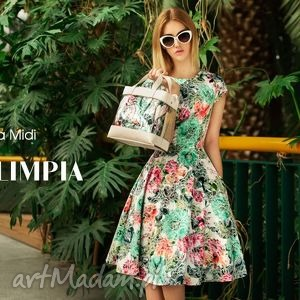 Sukienka STAR Midi Olimpia (żakard), kwiaty, kwiatowa, weselna, midi