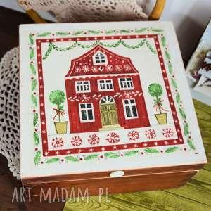 pudełko drewniane - skandynawski domek, pudełko, gwiazdka, dom