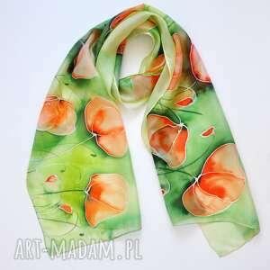 Malowany szal - maki na zieleni szaliki jedwab makowy szal