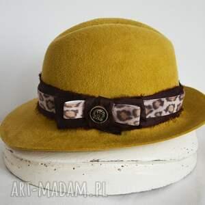 czapki kapelusz miodowy, kapelusz, brąz, fedora, jedwab