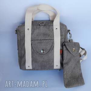 plecak/torebka 2w1 kamienny beż - zamsz, nubuk etui na telefon lub okulary