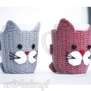 zestaw 2 kubków w ocieplaczach, kot, kotek, koty, kubek, kubeczek, ocieplacz dom