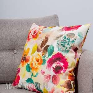 poduszka elena, poduszka, poszewka, kwiaty, naturalna, bawełna