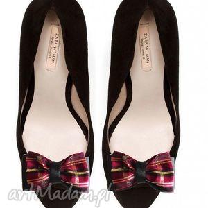 broshka elegancka krata - ozdoby do butów, krata, klispy, ozdoby, buty, kokardy