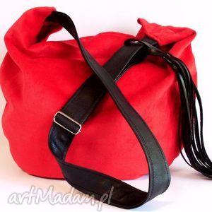 na ramię hobo, torba, czerwona, szyta, pojemna, dużatorba, święta prezent