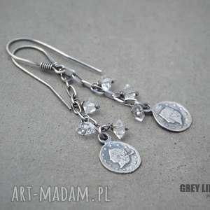 surowe z diamentami herkimer, diament, srebro, kryształ, górski