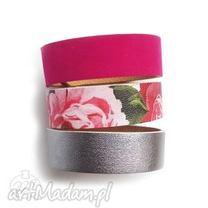 komplet trzech bransoletek kwiaty różowe, kwiaty, fuksja, bransoletka, zestaw