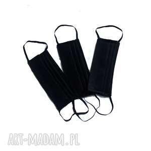 maseczki 3 szt czarne bawełniane dwuwarstwowe, ochronne