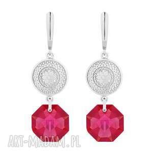 ręczne wykonanie kolczyki srebrne długie kolczyki z medalionami i kryształami swarovski® crystal