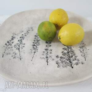 patera z roślinami, dekoracyjna, talerz, ceramiczny, roślinny, ozdobny, ceramiczna