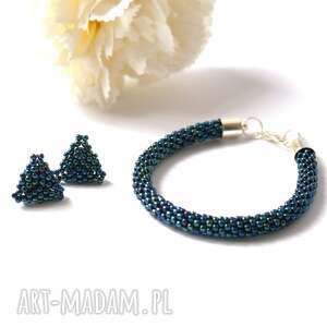 Triangle Set - komplet biżuterii w metalicznym granacie, kolczyki, bransoletka, toho