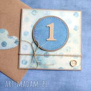 kartki na roczek kartka handmade blue, roczek, urodziny