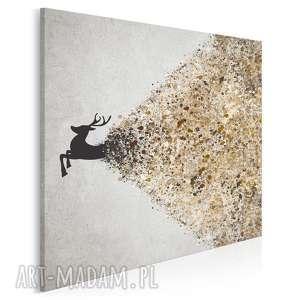 obraz na płótnie - jeleń beżowy brązowy w kwadracie 80x80 cm 49406