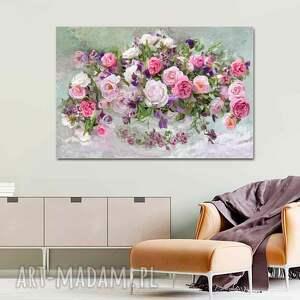 róże w wazonie 120 x 80, obraz na płótnie do salonu, sypialni, jadalni, stylu
