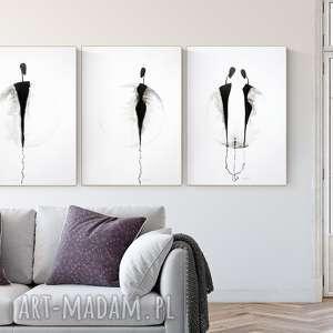 zestaw 3 grafik 50x70 cm wykonanych ręcznie, abstrakcja, elegancki minimalizm