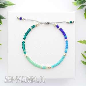 ręczne wykonanie bransoletka koralikowa minimal - blue and green