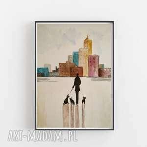 pani z pieskami-akwarela formatu 18/24 cm, akwarela, abstrakcja, pieski