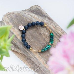 WHW High - Snake Jewels, malachit, onyks, dwustronna, elastyczna, gumce, kamienna