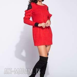 Ciepła sukienka z marszczonym rekawem, mini, swetrowa, z-dzianiny