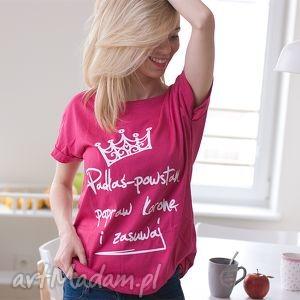 handmade bluzki różowa bawełniana koszulka t-shirt bluzka z napisem nadrukiem padłaś